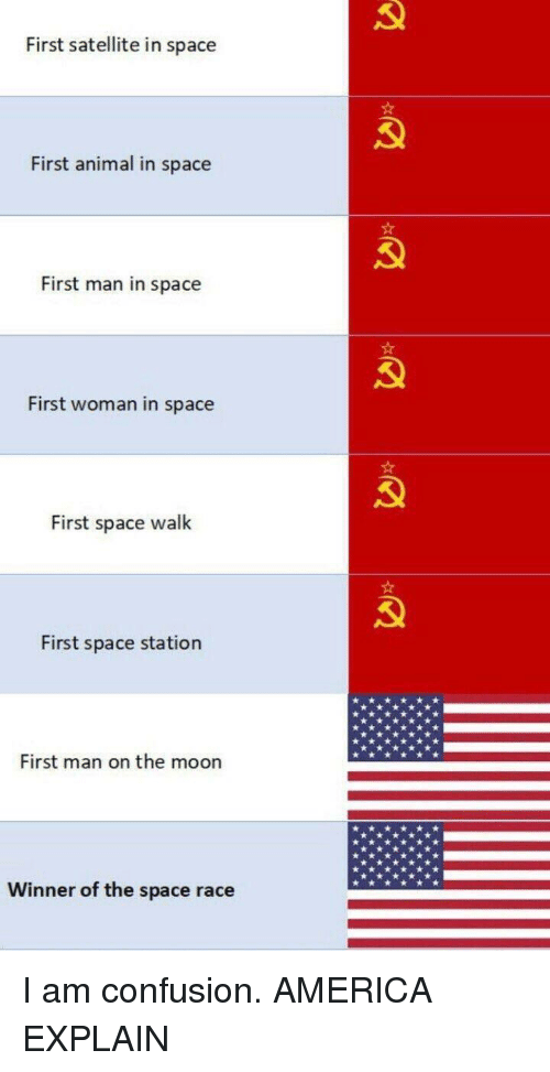 satellite: First satellite in space  First animal in space  First man in space  First woman in space  First space walk  First space station  First man on the moon  Winner of the space race I am confusion. AMERICA EXPLAIN