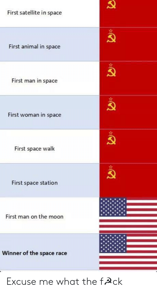 satellite: First satellite in space  First animal in space  First man in space  First woman in space  First space walk  First space station  First man on the moon  Winner of the space race Excuse me what the f☭ck
