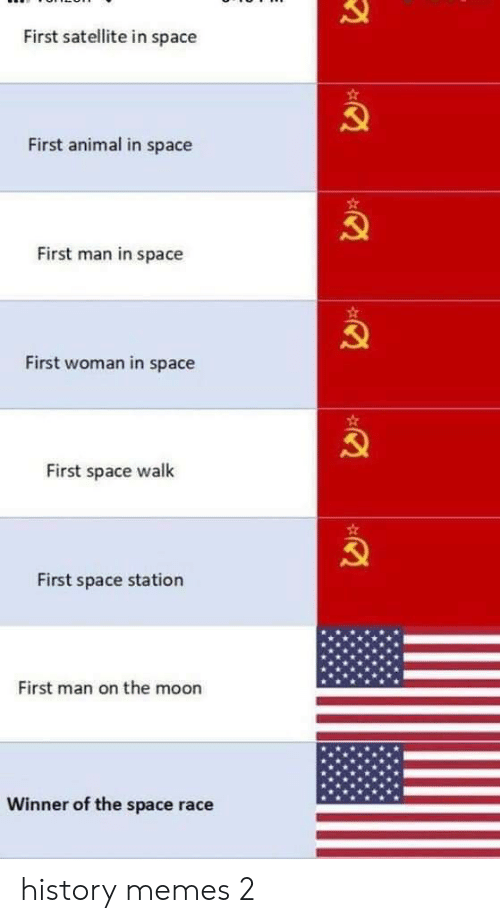 In Space: First satellite in space  First animal in space  First man in space  First woman in space  First space walk  First space station  First man on the moon  Winner of the space race history memes 2