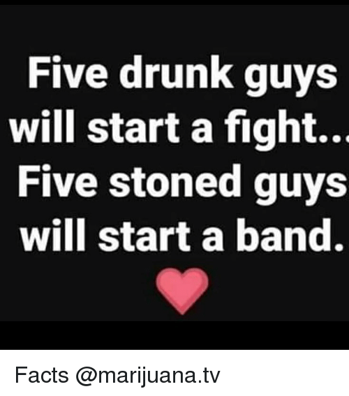Drunk, Facts, and Memes: Five drunk guys  Will start a fight...  Five stoned guys  will start a band. Facts @marijuana.tv