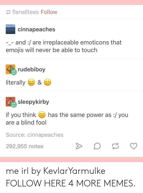 emoticons: flanelltees Follow  cinnapeaches  -_- and:/are irreplaceable emoticons that  emojis will never be able to touch  rudebiboy  literally ) &  sleepykirby  if you think  has the same power as :/ you  are a blind fool  Source: cinnapeaches  292,955 notes me irl by KevlarYarmulke FOLLOW HERE 4 MORE MEMES.