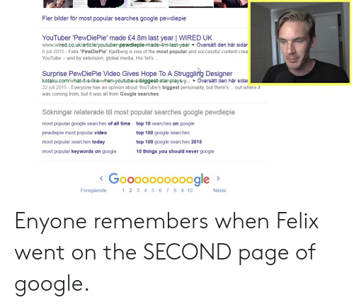"""Juli: Fler bilder för most popular searches google pewdiepie  YouTuber 'PewDiePie' made £4.8m last year   WIRED UK  www.wired.co.uk/article/youtuber-pewdiepie-made-4m-last-year Översätt den här sidar  6 juli 2015 - Felix """"PewDiePie"""" Kjellberg is one of the most popular and successful content crea  YouTube - and by extension, global media. His 'let's.  Surprise PewDiePie Video Gives Hope To A Struggling Designer  kotaku.com/what-it-s-like-when-youtube-s-biggest-star-plays-y... Översätt den här sidar  22 juli 2015 - Everyone has an opinion about YouTube's biggest personality, but there's  out where it  was coming from, but it was all from Google searches.  Sökningar relaterade till most popular searches google pewdiepie  most popular google searches of all time  top 10 searches on google  top 100 google searches  pewdiepie most popular video  top 100 google searches 2015  most popular searches today  most popular keywords on google  10 things you should never google  o0oooo000ogle  <Gooo  1 2 3 4 56 7 89 10  Föregående  Nästa Enyone remembers when Felix went on the SECOND page of google."""