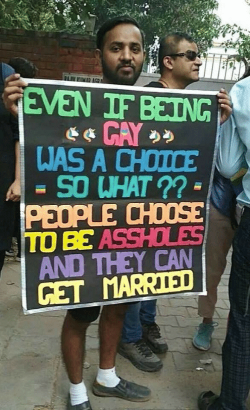 married: FLIMR AGR  GEVEN IF BEING  WAS A CHOICE  SO WHAT ?? -  PEOPLE CHOOSE  TO BE ASSHOLES  AND THEY CAN  GET MARRIED