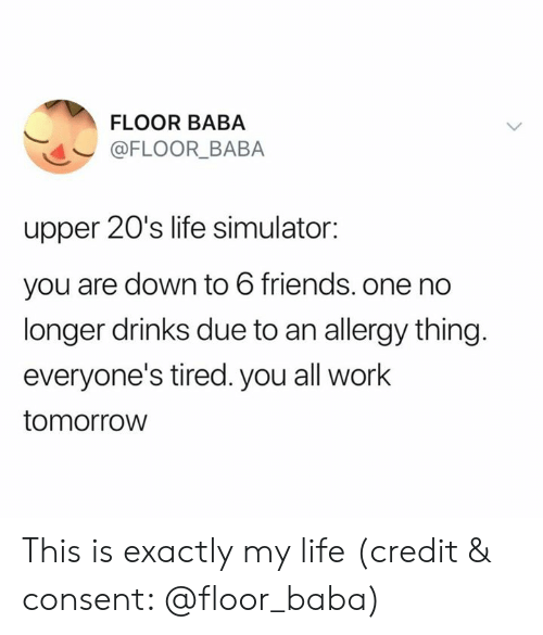 Friends, Life, and Work: FLOOR BABA  @FLOOR_BABA  upper 20's life simulator:  you are down to 6 friends. one no  longer drinks due to an allergy thing.  everyone's tired. you all work  tomorrow This is exactly my life (credit & consent: @floor_baba)