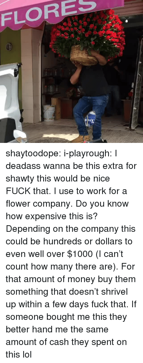 Lol, Money, and Tumblr: FLORES shaytoodope:  i-playrough:  I deadass wanna be this extra for shawty   this would be nice   FUCK that. I use to work for a flower company. Do you know how expensive this is? Depending on the company this could be hundreds or dollars to even well over $1000 (I can't count how many there are). For that amount of money buy them something that doesn't shrivel up within a few days fuck that. If someone bought me this they better hand me the same amount of cash they spent on this lol