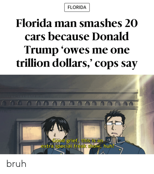 Bruh, Cars, and Donald Trump: FLORIDA  Florida man smashes 20  cars because Donald  Trump 'owes me one  O  trillion dollars,' cops say  GOod grief, this is an  extralspecial freak show, huh? bruh