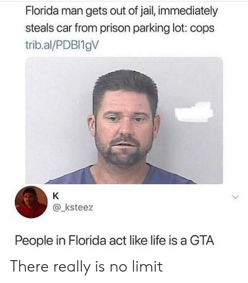 Florida Man, Jail, and Life: Florida man gets out of jail, immediately  steals car from prison parking lot: cops  trib.al/PDBI19V  K  @_ksteez  People in Florida act like life is a GTA There really is no limit