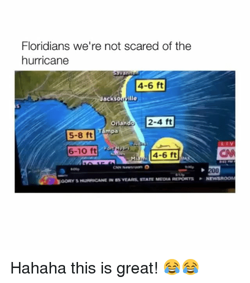 the hurricane: Floridians we're not scared of the  hurricane  4-6 ft  acksonyille  Orl  mpa  2-4 ft  an  5-8 ft  6-10 ft  4-6 ft  00p  booRY 5 HumuCANE IN  VEARs, STATE MEDIA REPORTS  . NEWSROOM Hahaha this is great! 😂😂