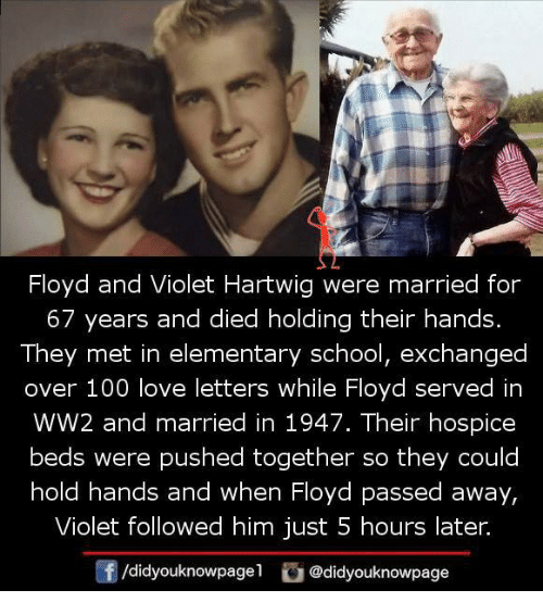 hospice: Floyd and Violet Hartwig were married for  67 years and died holding their hands.  They met in elementary school, exchanged  over 100 love letters while Floyd served in  WW2 and married in 1947. Their hospice  beds were pushed together so they could  hold hands and when Floyd passed away,  Violet followed him just 5 hours later.  f /didyouknowpagel  G @didyouknowpage