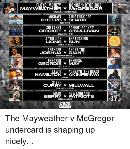 """Boxing, England, and Fucking: FLOYD """"MONEY""""  CONOR NOTORIOUS  MAYWEATHER MCGREGOR  BOXING MATCH (12 ROUNDS)  MICHAEL  A BIG FUCK OFF  PHELPS SHARK  100M SPRINT  SRILANKA  RONNIE ROCKET'  CRICKET v O SULLIVAN  BOULES (BEST OF 5)  A TRILLION  THE FUCKING  LIONS V SUN  FIGHT TO THE DEATH  ANTHONY  ANDRE THE  JOSHUA GIANT  BADMINTON (BEST OF)  THE TRUE  THERESA  GEORDIE V MAY  HELLIN THE CELL  LEWIS  ADEBAYO THE BEAST'  HAMILTON VAKINFENWA  VOLLEYBALL  STEPH  CU  ROCK, PAPER, SCISSORS  MARY NEW ENGLAND  BERRY V PATRIOTS  RODEO CHALLENGE  ODDS  ENO  87  GREGOR The Mayweather v McGregor undercard is shaping up nicely..."""