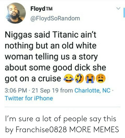 Cruise: Floyd TM  @FloydSoRandom  Niggas said Titanic ain't  nothing but an old white  woman telling us a story  about some good dick she  got on a cruise  3:06 PM 21 Sep 19 from Charlotte, NC  Twitter for iPhone I'm sure a lot of people say this by Franchise0828 MORE MEMES