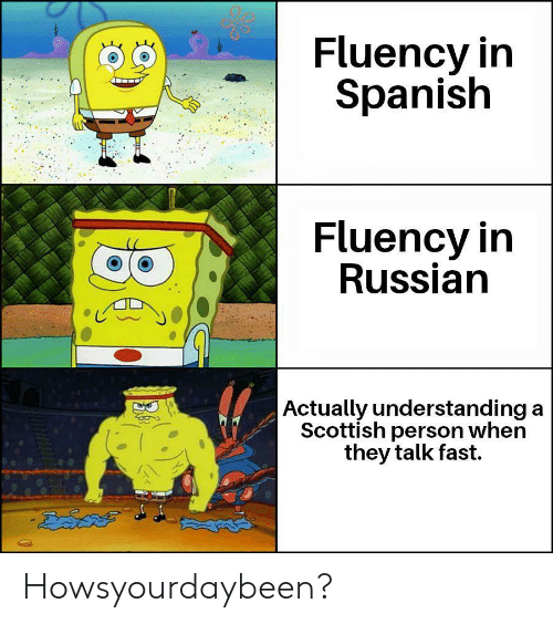 Scottish: Fluency in  Spanish  Fluency in  Russian  Actually understanding a  Scottish person when  they talk fast. Howsyourdaybeen?