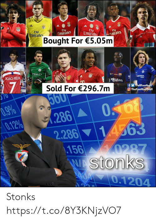 0 9: Fly  Emirates  Fly  Emirates  Fly  Emirates  Fly  Emirates  Bought For €5.05m  TIHAD  IRWAYS  JOAO FELIX  be  Rakuten  OKOHAMA  17  K  Sold For €296.7m  fTrollFootball  O TheFootballTroll  ST0  560  0168  1 4563  156 0287  WAStonks  00.1204  0.9%  0.12%  .286A  666 Stonks https://t.co/8Y3KNjzVO7