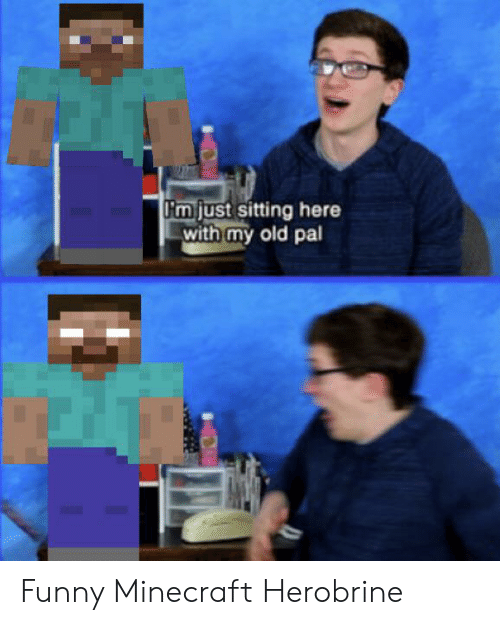 funny minecraft: Fm just sitting here  with my old pal Funny Minecraft Herobrine