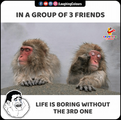friends laughing: fo /LaughingColours  IN A GROUP OF 3 FRIENDS  LAUGHING  Colours  LIFE IS BORING WITHOUT  THE 3RD ONE