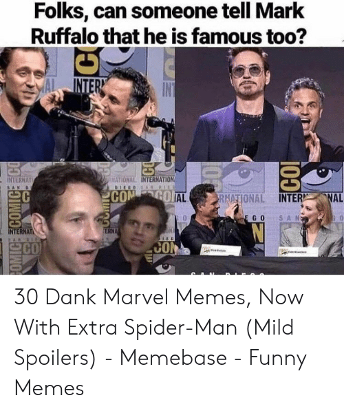Marvel Memes: Folks, can someone tell Mark  Ruffalo that he is famous too?  INTERN  IN  HATIONAL INTERNATION  INTERNAT  DIEGOS AN DIEO  SAN  CON GO AL  FRNATIONAL INTER NAL  SAN  E GO  ON  ERNA  INTERNAT  SARBI  CO  CON  1O  posouoos 30 Dank Marvel Memes, Now With Extra Spider-Man (Mild Spoilers) - Memebase - Funny Memes