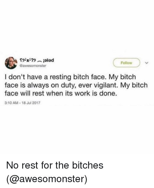 My Bitch: Follow  @awesomonster  I don't have a resting bitch face. My bitch  face is always on duty, ever vigilant. My bitch  face will rest when its work is done.  3:10 AM-18 Jul 2017 No rest for the bitches (@awesomonster)