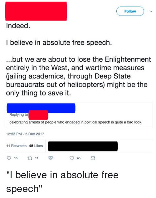 the negatives of absolute free speech Should freedom of speech be 'absolute' or with 'reasonable restrictions while many are arguing for absolute freedom of speech  as it infringes on free.