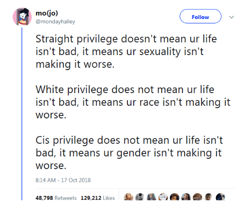 ean: Follow  @morhdayhalley  Siraighi privilege do' ean ur lifes  isn't bad, it means ur sexuality isn't  making it worse.  White privilege does not mean ur life  isn't bad, it means ur race isn't making it  is privilege does not mean ur life isn'i  bad, it means ur gender isn't making it  worse  8:14 AM-17 Oct 2018  RUN  Retweets  1%,202 Likes  :