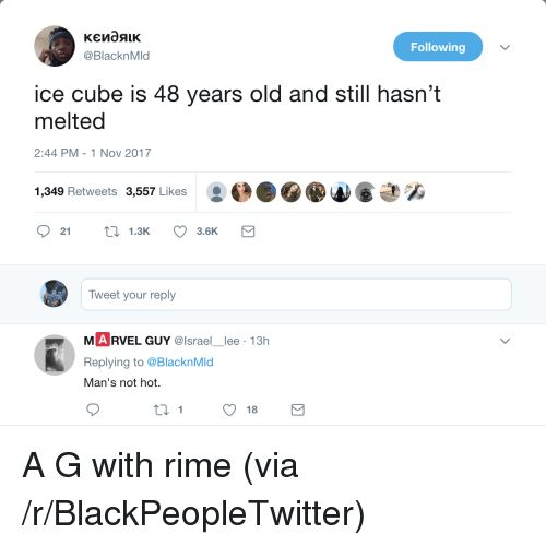 Ice Cube: Following  @BlacknMld  ice cube is 48 years old and still hasn't  melted  2:44 PM-1 Nov 2017  き%  1,349 Retweets 3,557 Likes  21  1.3K  3.6K  Tweet your reply  M A RVEL GUY @lsrael lee 13h  Replying to @BlacknMd  an'S not hnot.  1 <p>A G with rime (via /r/BlackPeopleTwitter)</p>