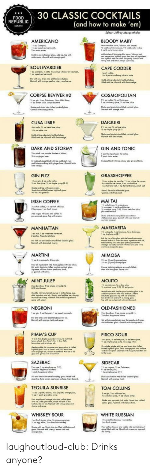 Cosmopolitan: FOOD30 CLASSIC COCKTAILS  (and how to make 'em)  REPUBLI  EST 2010  AMERICANO  し 、 BLOODY MARY  ณ0de water. Garwish wa orange Peet  BOULEVARDIER  CAPE CODDER  Gamiah with oronge peal or chenry and serve  0  .7 CORPSE REVIVER #2  COSMOPOLITAN  Shake ond wtai nto ched cocktal glass  CUBA LIBRE  DAIQUIRI  n highball g  DARK AND STORMY  GIN AND TONIC  parts Tonile  and top with ginger br Gari w  GIN FIZZ  GRASSHOPPER  1 a  ho and-half, 1 hp fernet Sronca, pinch so  IRISH COFFEE  MAI TAI  MANHATTAN  MARGARITA  dehes Angeuo  MARTINI  MIMOSA  he nte g Serve cold  MINT JULEP  MOJITO  NEGRONI  OLD-FASHIONED  Garih wh orange twist and  PIMM'S CUP  PISCO SOUR  SAZERAC  SIDECAR  TEQUILA SUNRISE  TOM COLLINS  Shake and topith dub sode Srain into chile  cos glais Garnihwi  WHISKEY SOUR  WHITE RUSSIAN  าร 44 cole.tque. 1 44 .0 kn,  os iledwih ice Float fresh creom on top and laughoutloud-club:  Drinks anyone?