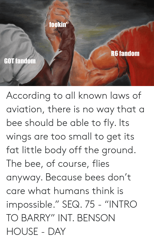 """House, Wings, and Fat: fookin  R6 fandonm  GOT fandom According to all known laws of aviation, there is no way that a bee should be able to fly. Its wings are too small to get its fat little body off the ground. The bee, of course, flies anyway. Because bees don't care what humans think is impossible."""" SEQ. 75 - """"INTRO TO BARRY"""" INT. BENSON HOUSE - DAY"""