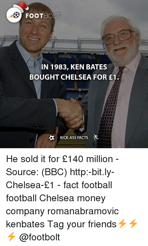 Kicking Ass: FOOT BOLT  IN 1983, KEN BATES  BOUGHT CHELSEA FOR E1.  KICK-ASS FACTS He sold it for £140 million - Source: (BBC) http:-bit.ly-Chelsea-£1 - fact football football Chelsea money company romanabramovic kenbates Tag your friends⚡️⚡️⚡️ @footbolt