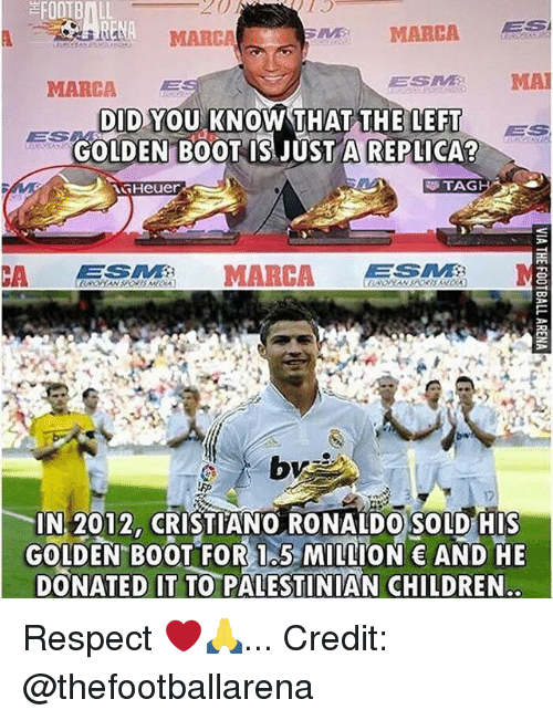 Children, Cristiano Ronaldo, and Football: FOOTBALL  20  MARCA  MARCA  ESM MA  DID YOU KNOW THAT THE LEFT ES  DID.YOU KNOW THATTHFEE  ES  GOLDEN B0OT IS JUSTA REPLICA  TAG  IN 2012, CRISTIANO RONALDO SOLD HIS  GOLDEN BOOT FOR I5 MION AND HE  DONATED IT TO PALESTINIAN CHILDREN Respect ❤️🙏... Credit: @thefootballarena