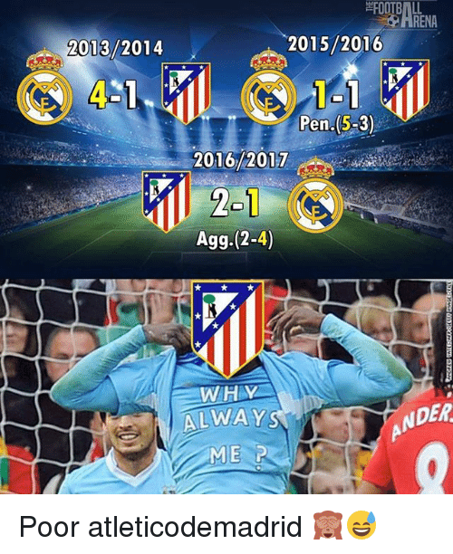 agg: FOOTBALL  2015/2016  2013/2014  Pen.(S-3)  2016/2017  Agg. 2-4)  WITH V  DER  ALWAY  ME ir Poor atleticodemadrid 🙈😅