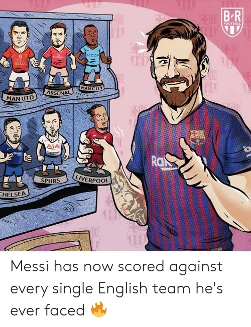 Spurs: FOOTBALL  eTIHAD  AIG  MAN CITY  ARSENAL  MAN UTD  AIA  Ro  LIVERPOOL  SPURS  HELSEA Messi has now scored against every single English team he's ever faced 🔥