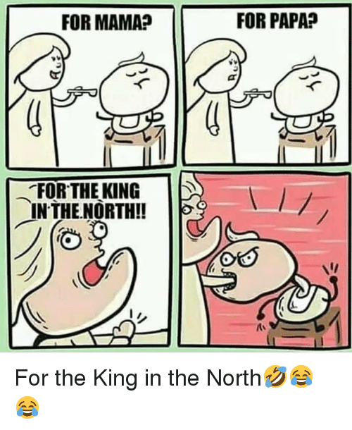 in-the-north: FOR MAMA?  FOR PAPA?  .FORTHERING  INTHE.NORTH!! For the King in the North🤣😂😂