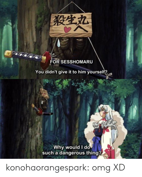 Dangerous Thing: FOR SESSHOMARU  You didn't give it to him yourself?,   Why would I do  such a dangerous thing?. konohaorangespark:  omg XD