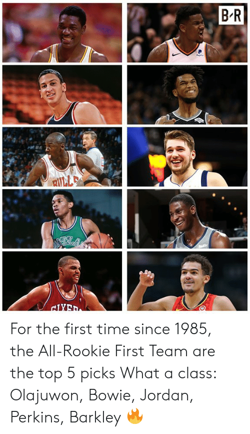 Perkins: For the first time since 1985, the All-Rookie First Team are the top 5 picks  What a class: Olajuwon, Bowie, Jordan, Perkins, Barkley 🔥