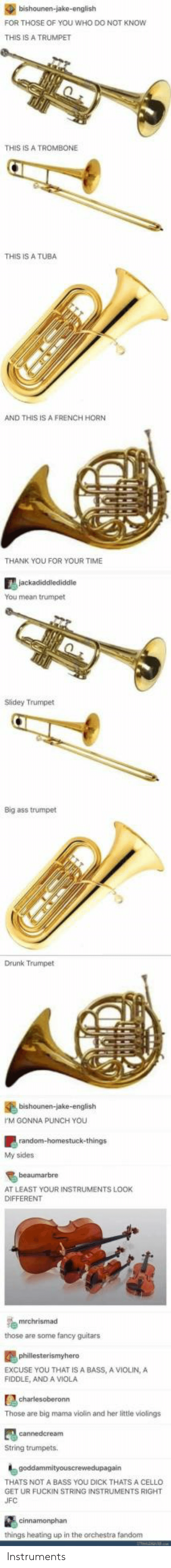 viola: FOR THOSE OF YOU WHO DO NOT KNOw  THIS IS A TRUMPET  THIS IS A TROMBONE  THIS IS A TUBA  AND THIS IS A FRENCH HORN  THANK YOU FOR YOUR TIME  You mean trumpet  Slidey Trumpet  Big ass trumpet  Drunk Trumpet  M GONNA PUNCH YOU  My sides  AT LEAST YOUR INSTRUMENTS LOOK  DIFFERENT  those are some fancy guitars  EXCUSE YOU THAT IS A BASS, A VIOLIN,A  FIDDLE, AND A VIOLA  Those are big mama violin and her little violings  String trumpets  THATS NOT A BASS YOU DICK THATS A CELLO  GET UR FUCKIN STRING INSTRUMENTS RIGHT  things heating up in the orchestra fandom Instruments
