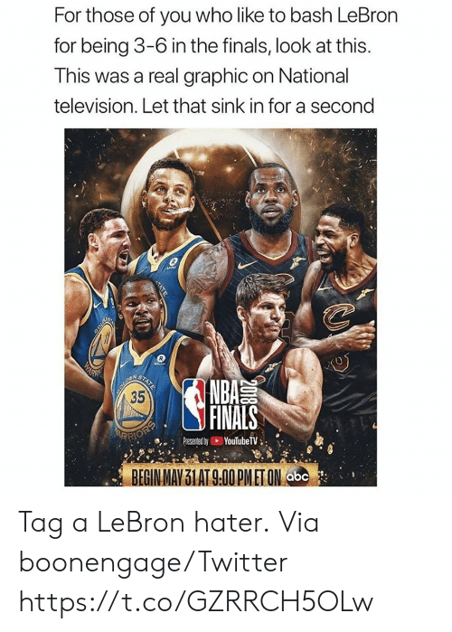 Abc, Finals, and Memes: For those of you who like to bash LeBron  for being 3-6 in the finals, look at this.  This was a real graphic on National  television. Let that sink in for a second  COLD  WARN  BOUREN  35  STATE  NBA  FINALS  ARRIOEP  YouTubeTV  Presented by  BEGIN MAY 31 AT 9.00 PMET ON abc  2018  TATE Tag a LeBron hater.  Via boonengage/Twitter https://t.co/GZRRCH5OLw