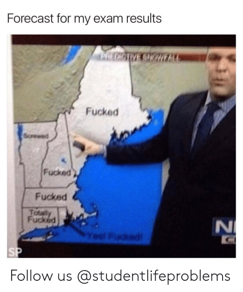 Tumblr, Forecast, and Http: Forecast for my exam results  Fucked  Screwed  Fucked  Fucked  Totally  Fucked  Yesl Fucked Follow us @studentlifeproblems