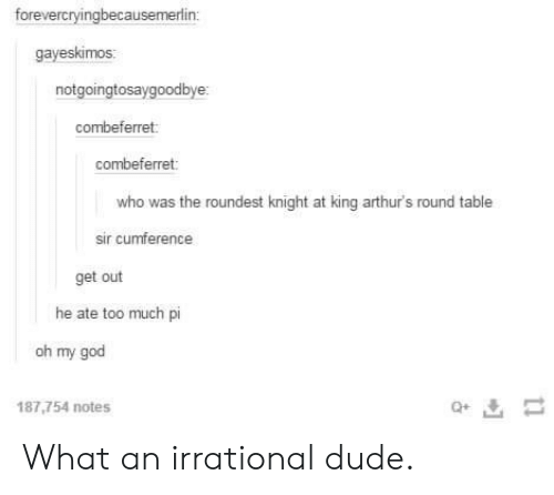 Dude, God, and Oh My God: forevercryingbecausemerlin  gayeskimos  notgoingtosaygoodbye  combeferret  combeferret  who was the roundest knight at king arthur's round table  sir cumference  get out  he ate too much pi  oh my god  187,754 notes  Q+ What an irrational dude.
