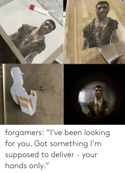 "Looking For: forgamers:  ""I've been looking for you. Got something I'm supposed to deliver - your hands only."""