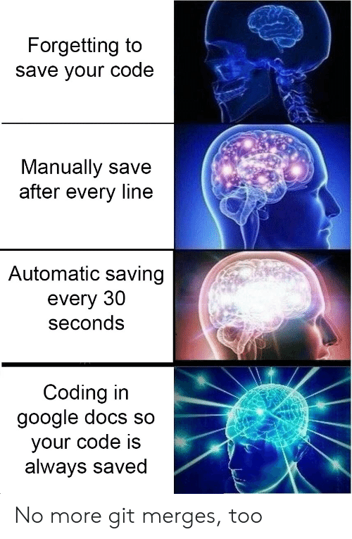 Google, Google Docs, and Git: Forgetting to  save vour code  Manually save  after every line  Automatic saving  every 30  seconds  Coding in  google docs so  your code is  always saved No more git merges, too