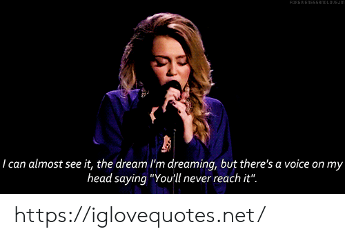 """the dream: FORGIUENESSANDLOUEJM  29  I can almost see it, the dream I'm dreaming, but there's a voice on my  head saying """"You'll never reach it"""". https://iglovequotes.net/"""