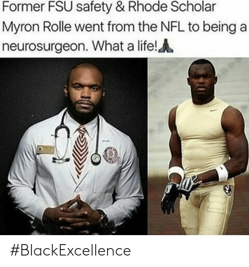 FSU Florida State University: Former FSU safety & Rhode Scholar  Myron Rolle went from the NFL to beinga  neurosurgeon. What a life! #BlackExcellence