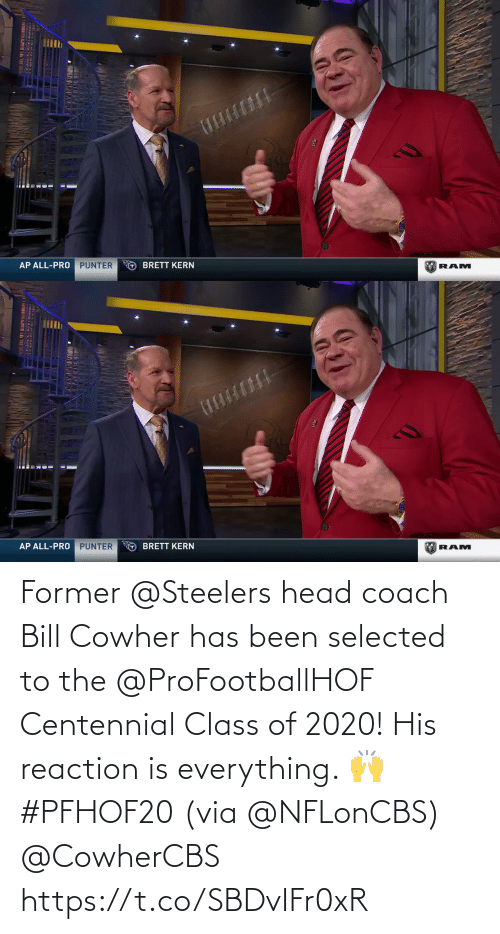 coach: Former @Steelers head coach Bill Cowher has been selected to the @ProFootballHOF Centennial Class of 2020!  His reaction is everything. 🙌 #PFHOF20 (via @NFLonCBS) @CowherCBS https://t.co/SBDvIFr0xR