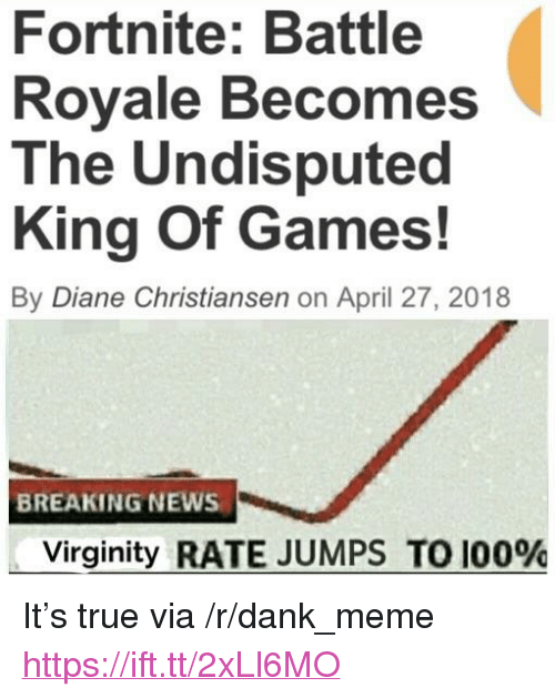 "Anaconda, Dank, and Meme: Fortnite: Battle  Rovale Becomes  The Undisputed  King Of Games!  By Diane Christiansen on April 27, 2018  BREAKING NEWS  Virginity RATE JUMPS TO 100% <p>It's true via /r/dank_meme <a href=""https://ift.tt/2xLl6MO"">https://ift.tt/2xLl6MO</a></p>"