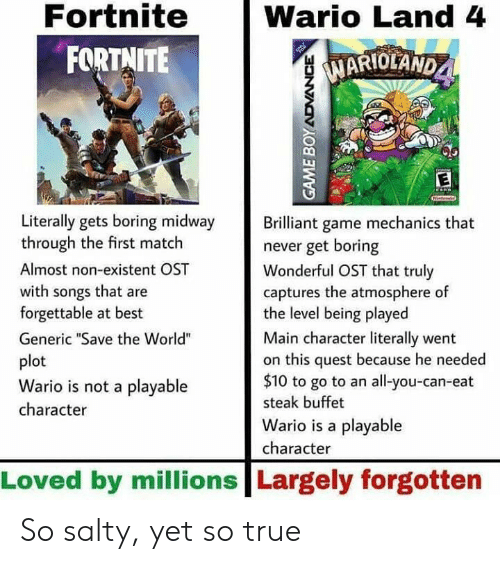 "Forgettable: Fortnite  FORTNITE  Wario Land 4  MARIOLAND  1  Literally gets boring midway rilliant game mechanics that  through the first match  Almost non-existent OST  with songs that are  forgettable at best  Generic ""Save the World""  plot  Wario is not a playable  character  never get boring  Wonderful OST that truly  captures the atmosphere of  the level being played  Main character literally went  on this quest because he needed  $10 to go to an all-you-can-eat  steak buffet  Wario is a playable  character  Loved by millions Largely forgotten So salty, yet so true"
