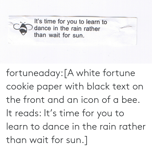 icon: fortuneaday:[A white fortune cookie paper with black text on the front and an icon of a bee. It reads: It's time for you to learn to dance in the rain rather than wait for sun.]