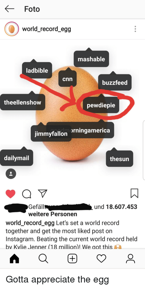cnn.com, Instagram, and Appreciate: Foto  world_record_egg  mashable  ladbible  cnn  buzzfeed  theellenshow  pewdiepie  rningamerica  jimmyfallon  dailymail  thesun  Gefäll  weitere Personen  und 18.607.453  world_record egg Let's set a world record  together and get the most liked post on  Instagram. Beating the current world record held  bv Kvlie Jenner (18 million)! We aot this