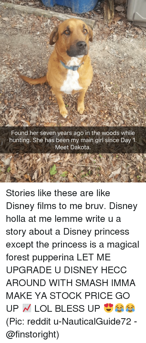 Bless up: Found her seven years ago in the woods while  hunting. She has been my main girl since Day1  Meet Dakota Stories like these are like Disney films to me bruv. Disney holla at me lemme write u a story about a Disney princess except the princess is a magical forest pupperina LET ME UPGRADE U DISNEY HECC AROUND WITH SMASH IMMA MAKE YA STOCK PRICE GO UP 📈 LOL BLESS UP 😍😂😂 (Pic: reddit u-NauticalGuide72 - @finstoright)