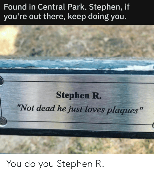 "Stephen, Central Park, and Park: Found in Central Park. Stephen, if  you're out there, keep doing you.  Stephen R.  ""Not dead he just loves plaques"" You do you Stephen R."