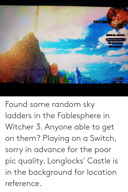 Location: Found some random sky ladders in the Fablesphere in Witcher 3. Anyone able to get on them? Playing on a Switch, sorry in advance for the poor pic quality. Longlocks' Castle is in the background for location reference.