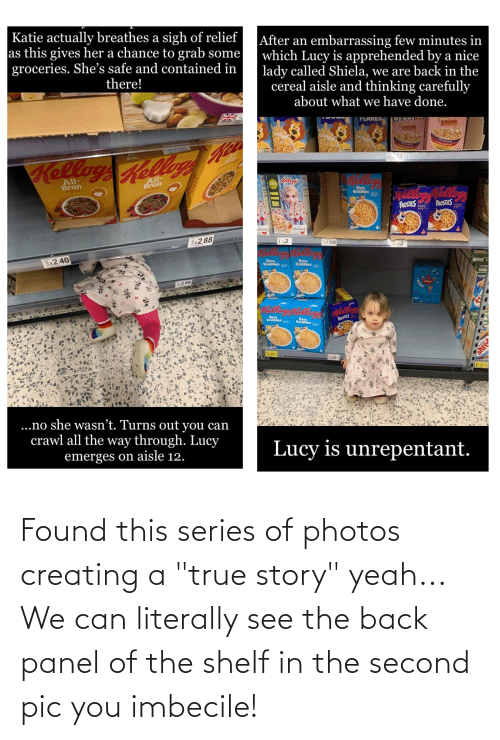 "imbecile: Found this series of photos creating a ""true story"" yeah... We can literally see the back panel of the shelf in the second pic you imbecile!"